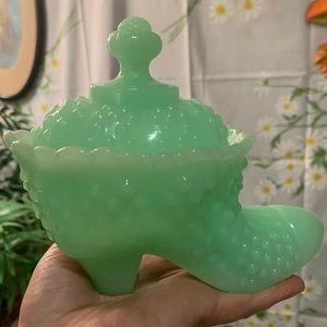 RARE fenton jadeite hobnail milk glass lidded shoe